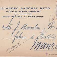 Postales: TARJETA POSTAL COMERCIAL ALEJANDRO SANCHEZ NETO DE ALANIS-SEVILLA 1944. Lote 53395402