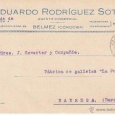 Postales: TARJETA POSTAL COMERCIAL EDUARDO RODRIGUEZ SOTO DE BÉLMEZ - CÓRDOBA- 1933. Lote 53397138