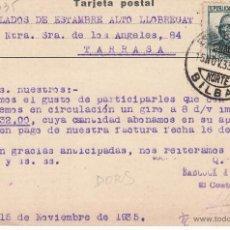 Postales: TARJETA POSTAL COMERCIAL BABCOCK Y WILCOX BILBAO 1935 CON MATASELLOS NORTE-BILBAO. Lote 53397167