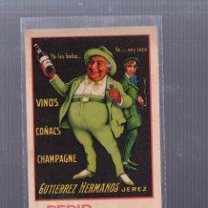 Postales: TARJETA POSTAL PUBLICITARIA. GUTIERREZ HERMANOS.. JEREZ. VINOS, COÑACS, CHAMPAGNE.. Lote 53431116