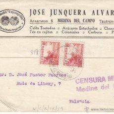 Postales: TARJETA POSTAL COMERCIAL DE JOSÉ JUNQUERA DE MEDINA DEL CAMPO-VALLADOLID- CON CENSURA MILITAR. Lote 53606259