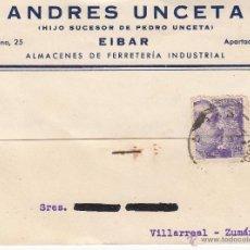 Postales: TARJETA POSTAL COMERCIAL DE ANDRÉS UNCETA DE ÉIBAR-GUIPUZCOA- 1940 . Lote 53647578