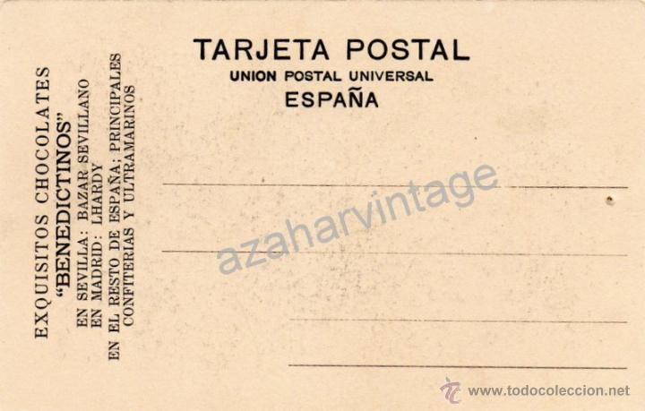Postales: ANTIGUA POSTAL DE PUBLICIDAD CHOCOLATES BENEDICTINOS. DON QUIJOTE DE LA MANCHA, CERVANTES - Foto 2 - 53804102
