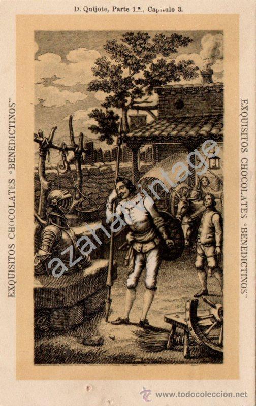 ANTIGUA POSTAL DE PUBLICIDAD CHOCOLATES BENEDICTINOS. DON QUIJOTE DE LA MANCHA, PARTE 1ª CAP.3 (Postales - Postales Temáticas - Publicitarias)