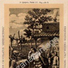 Postales: ANTIGUA POSTAL DE PUBLICIDAD CHOCOLATES BENEDICTINOS. DON QUIJOTE DE LA MANCHA, PARTE 1ª CAP.3. Lote 53811765