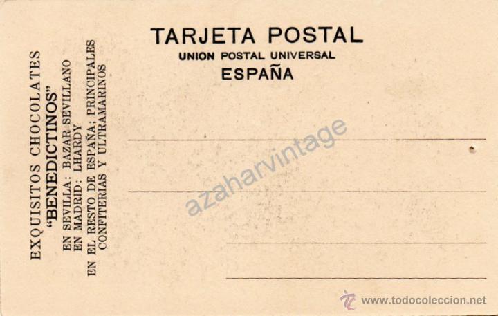 Postales: ANTIGUA POSTAL DE PUBLICIDAD CHOCOLATES BENEDICTINOS. DON QUIJOTE DE LA MANCHA, PARTE 1ª CAP.3 - Foto 2 - 53811765
