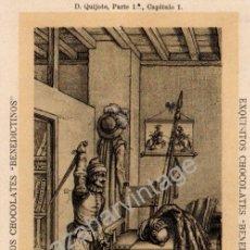 Postales: ANTIGUA POSTAL DE PUBLICIDAD CHOCOLATES BENEDICTINOS. DON QUIJOTE DE LA MANCHA, PARTE 1ª CAP.1. Lote 53811792