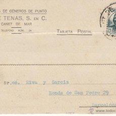 Postales: TARJETA POSTAL COMERCIAL DE JOSÉ TENAS DE CANET DE MAR --1935-- MATASELLOS DE CANET DE MAR--. Lote 53811842