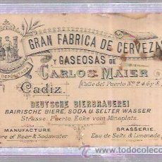Postales: TARJETA PUBLICITARIA GRAN FABRICA DE CERVEZAS CARLOS MAIER. CÁDIZ. LIT. ALEMANA.. Lote 53951388
