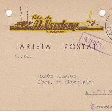 Postales: TARJETA POSTAL COMERCIAL DE FABRICA DE GALLETAS VDA. DE M. VERDENY DE TREMP ---1941----. Lote 54252169