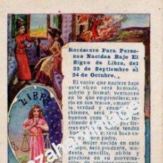 Postales: ANTIGUA TARJETA PUBLICITARIA CON HOROSCOPO SIGNO LIBRA - PUBLICIDAD DE PELLETS DEL DOCTOR MACKENZY. Lote 54327020