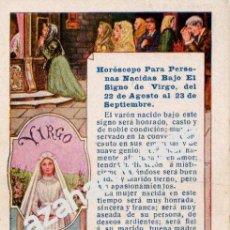 Postales: ANTIGUA TARJETA PUBLICITARIA CON HOROSCOPO SIGNO VIRGO - PUBLICIDAD DE PELLETS DEL DOCTOR MACKENZY. Lote 54327059