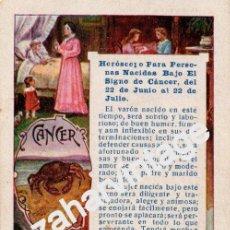 Postales: ANTIGUA TARJETA PUBLICITARIA CON HOROSCOPO SIGNO CANCER - PUBLICIDAD DE PELLETS DEL DOCTOR MACKENZY. Lote 54327115