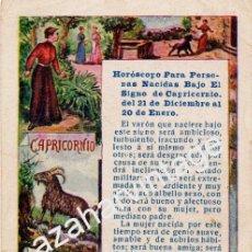 Postales: ANTIGUA TARJETA PUBLICITARIA HOROSCOPO SIGNO CAPRICORNIO - PUBLICIDAD DE PELLETS DEL DOCTOR MACKENZY. Lote 54327188