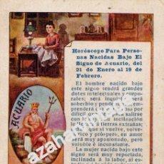 Postales: ANTIGUA TARJETA PUBLICITARIA HOROSCOPO SIGNO ACUARIO - PUBLICIDAD DE PELLETS DEL DOCTOR MACKENZY. Lote 54327228