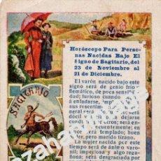 Postales: ANTIGUA TARJETA PUBLICITARIA HOROSCOPO SIGNO SAGITARIO - PUBLICIDAD DE PELLETS DEL DOCTOR MACKENZY. Lote 54327307