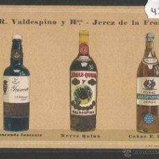 Postales: A.R. VALDESPINO Y HNO - JEREZ DE LA FRONTERA - POSTAL PUBLICITARIA - VER REVERSO - (42107). Lote 55036026