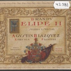 Postales: POSTAL ANTIGUA PUBLICIDAD BRANDY FELIPE II -VER REVERSO -(42.381). Lote 55860833
