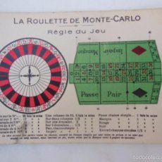 Postales: LA ROULETTE DE MONTE CARLO, RÈGLE DU JEU. Lote 56040070