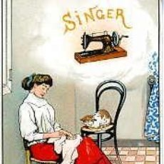 Postales: SINGER MAQUINAS DE COSER. ANTIGUA POSTAL PUBLICITARIA. TAMAÑO 14X9 CM.. Lote 56303656
