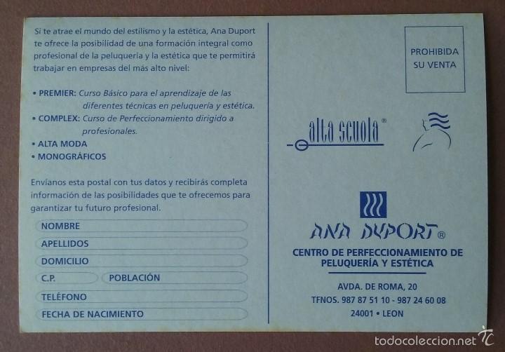 Postales: POSTAL ANA DUPORT. CENTRO DE PELUQUERIA Y ESTETICA. LEON. POSTALFREE. SIN CIRCULAR. - Foto 2 - 56597510