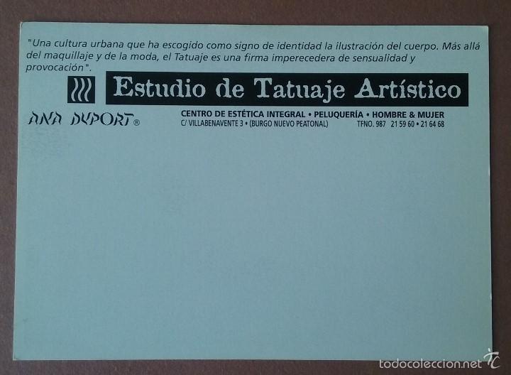 Postales: POSTAL ANA DUPORT. CENTRO DE PELUQUERIA Y ESTETICA. ESTUDIO DE TATUAJE ARTISTICO. LEON. - Foto 2 - 56597663