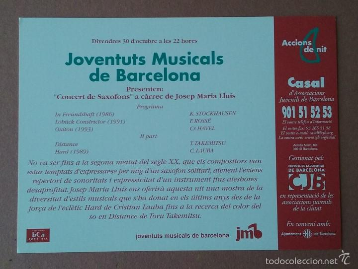 Postales: POSTAL CASAL DASSOCIACIONS JUVENILS DE BARCELONA. ACCIONS DE NIT. MUSICA. 1998. - Foto 2 - 56614907