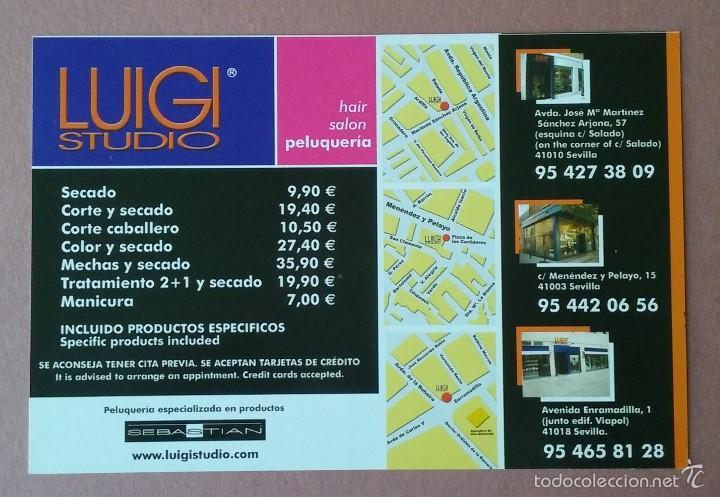 Postales: POSTAL TARJETA FLYER LUIGI STUDIO. SALON PELUQUERIA. SEVILLA. - Foto 2 - 56617473