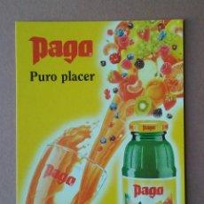 Postales: POSTAL TARJETA PUBLICITARIA PAGO. PURO PLACER. ZUMO DE FRUTAS. SIN CIRCULAR.. Lote 56617875