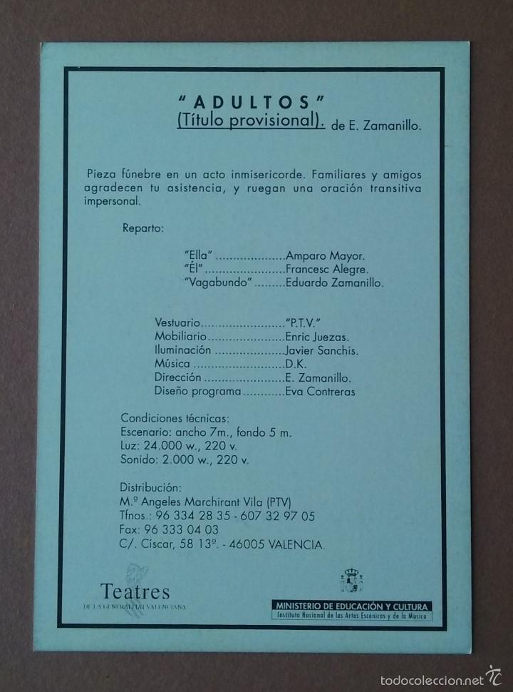 Postales: POSTAL TARJETA PUBLICITARIA P.T.V. ADULTOS. ZAMANILLO. TEATRES DE LA GENERALITAT VALENCIANA. TEATRO. - Foto 2 - 56618505