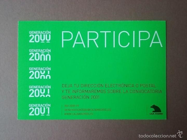 Postales: POSTAL TARJETA GENERACION 2000. PREMIOS Y BECAS DE ARTE. CAJA MADRID. - Foto 2 - 56671517