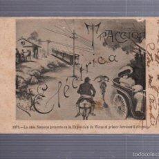 Postales: TARJETA POSTAL PUBLICITARIA. SIEMENS. 1879. FERROCARRIL TRACCION ELECTRICA. EXPOSICION DE VIENA.. Lote 56911782