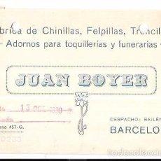 Postales: TARJETA POSTAL PUBLICITARIA. JUAN BOYER. ADORNOS TOQUILLERÍAS Y FUNERARIAS. BARCELONA. 1930.. Lote 56922183