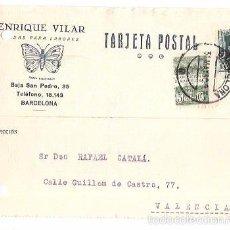 Postales: TARJETA POSTAL PUBLICITARIA. ENRIQUE VILAR. LABORES. BARCELONA. 1930.. Lote 56922225