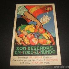 Postales: POSTAL MORELL ILUSTRADOR CARTEL FRUTAS ESPAÑOLAS LIT. DURA DE VALENCIA PUBLICITARIA. Lote 57160131