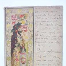Postales: ANIS DEL MONO. BADALONA. CARTEL A. DE RIQUER. POSTAL PUBLICITARIA CIRCULADA AÑOS 1900S. ORIGINAL. Lote 58155684