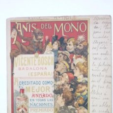 Postales: ANIS DEL MONO. BADALONA. CARTEL DE LABARTA. POSTAL PUBLICITARIA CIRCULADA AÑOS 1900S. ORIGINAL. Lote 58156065