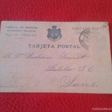 Postales: POSTAL POSTCARD FABRICA DE MARCOS MOLDURAS Y RELIEVES GUSTAVO MARTI PROVEEDOR LA REAL CASA BARCELONA. Lote 58653233