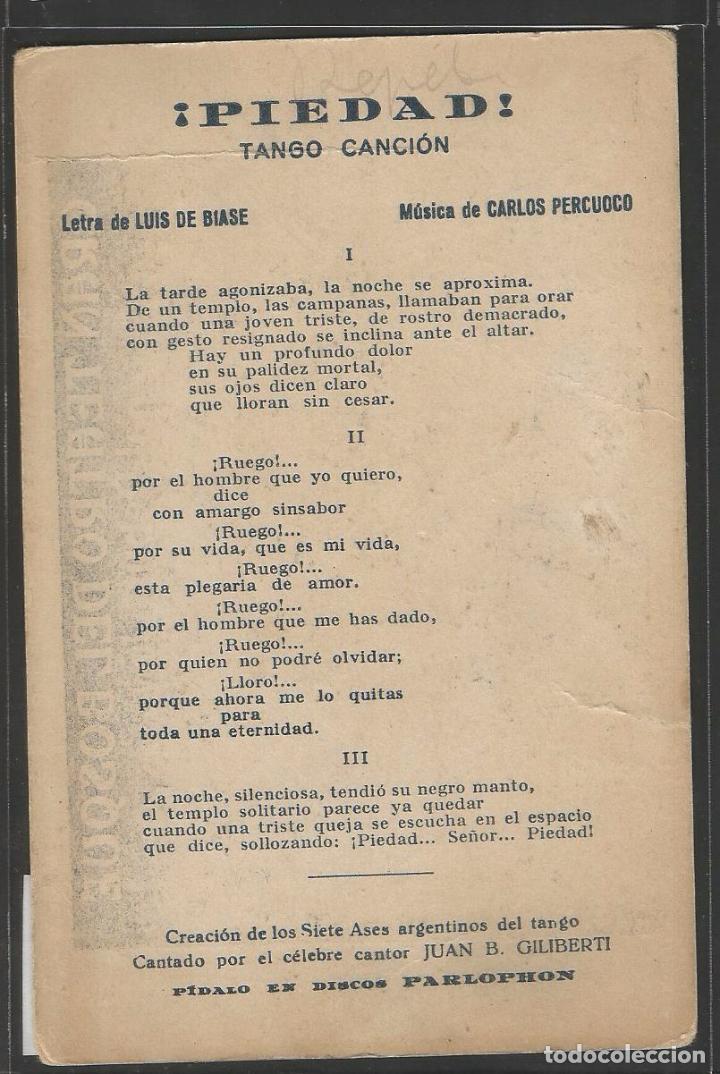 Tarjeta postal tango letra