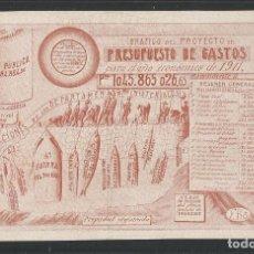 Postales: PROYECTO PRESUPUESTOS 1911 - POSTAL PUBLICITARIA - VER REVERSO - (44.834). Lote 62985164