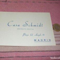 Postales: CASA SCHMIDT - DEPOSITO DENTAL - MADRID - PLAZA DEL ANGEL 16 - TARJETA POSTAL PUBLICITARIA Y PEDIDOS. Lote 64196195