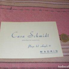 Postales: CASA SCHMIDT - DEPOSITO DENTAL - MADRID - PLAZA DEL ANGEL 16 - TARJETA POSTAL PUBLICITARIA Y PEDIDOS. Lote 64196215
