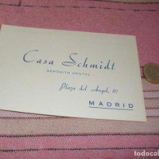 Postales: CASA SCHMIDT - DEPOSITO DENTAL - MADRID - PLAZA DEL ANGEL 16 - TARJETA POSTAL PUBLICITARIA Y PEDIDOS. Lote 64196239