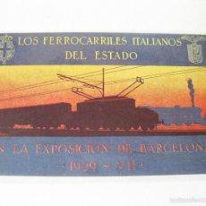 Postales: POSTAL PUBLICITARIA DE LOS FERROCARRILES ITALIANOS DEL ESTADO EN LA EXPOSICION DE BARCELONA DE 1929. Lote 64649827