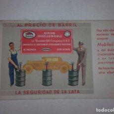 Postales: POSTAL MOBILOIL, VACUUM OIL COMPANY, BIDON IRRELLENABLE, GARAGE CENTRAL, TAFALLA, NAVARRA. AÑOS 30.. Lote 79342633