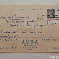 Postales: TARJETA POSTAL - FARMACIA LABORATORIOS AUBA, ZARAGOZA. Lote 65991090