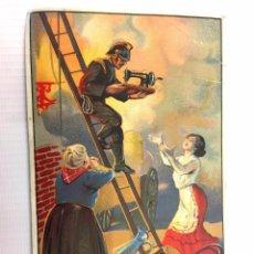 Postales: SINGER. MÁQUINAS DE COSER. BONITA POSTAL PUBLICITARIA. ORIGINAL AÑOS 1900S. BOMBEROS. ALGO FATIGADA. Lote 70460621