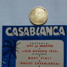 Postales: ANTIGUO PROGRAMA CASABLANCA SALA DE FIESTAS NIGHT CLUB. ENERO 1958. TARJETA POSTAL.. Lote 70585418