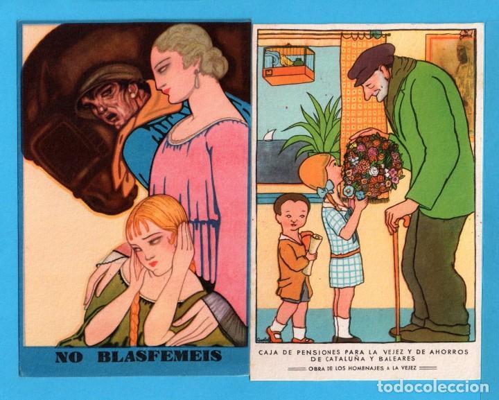 Postales: Ocho postales de Publicidad de caja de pensiones para la vejez y ahorros de cataluña y baleares - Foto 2 - 72771667