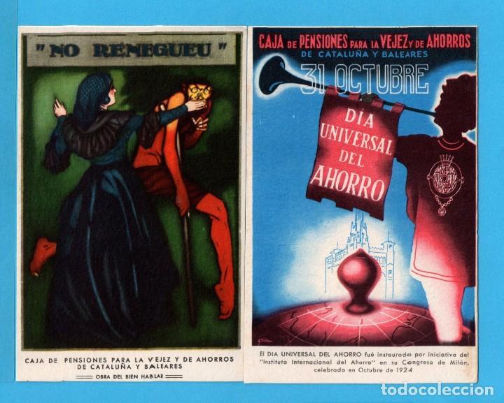 Postales: Ocho postales de Publicidad de caja de pensiones para la vejez y ahorros de cataluña y baleares - Foto 3 - 72771667
